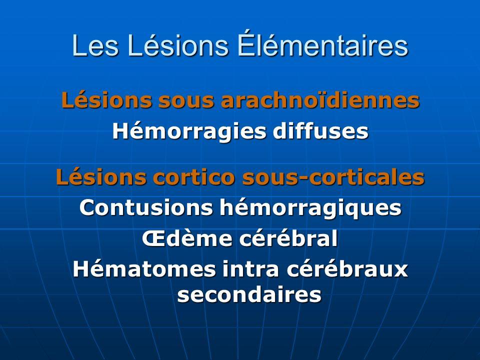 Lésions sous arachnoïdiennes Hémorragies diffuses Lésions cortico sous-corticales Contusions hémorragiques Œdème cérébral Hématomes intra cérébraux se