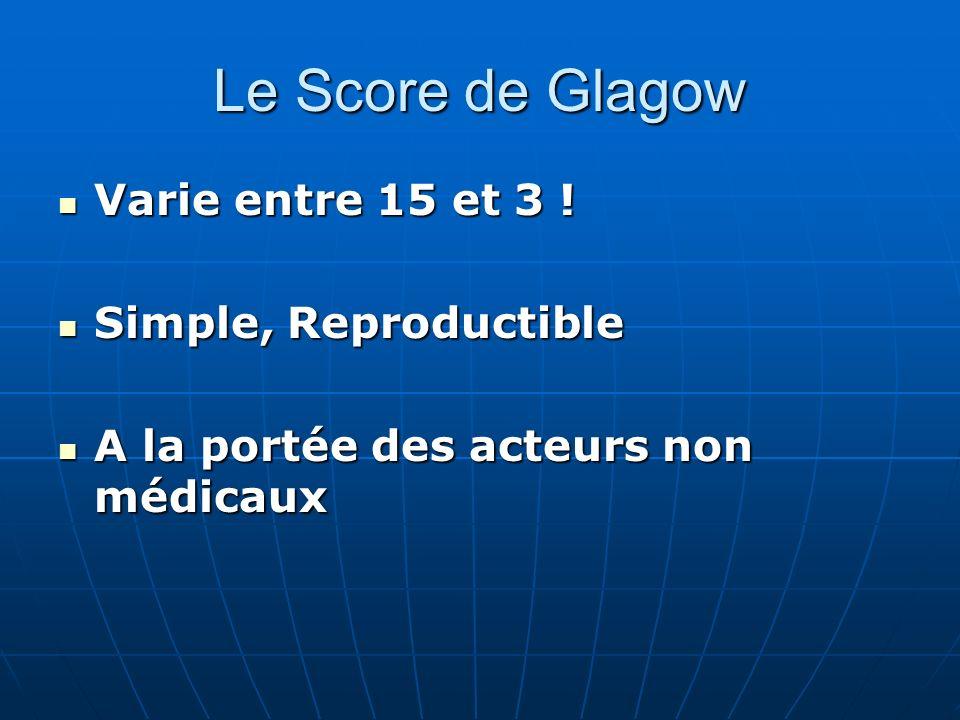 Le Score de Glagow Varie entre 15 et 3 ! Varie entre 15 et 3 ! Simple, Reproductible Simple, Reproductible A la portée des acteurs non médicaux A la p