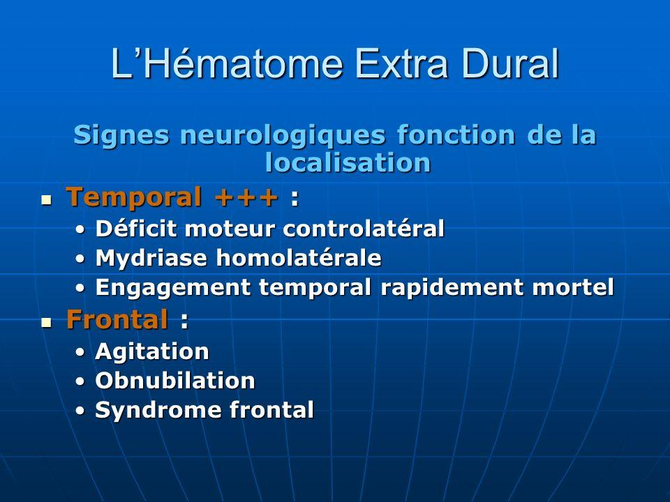 LHématome Extra Dural Signes neurologiques fonction de la localisation Temporal +++ : Temporal +++ : Déficit moteur controlatéralDéficit moteur contro