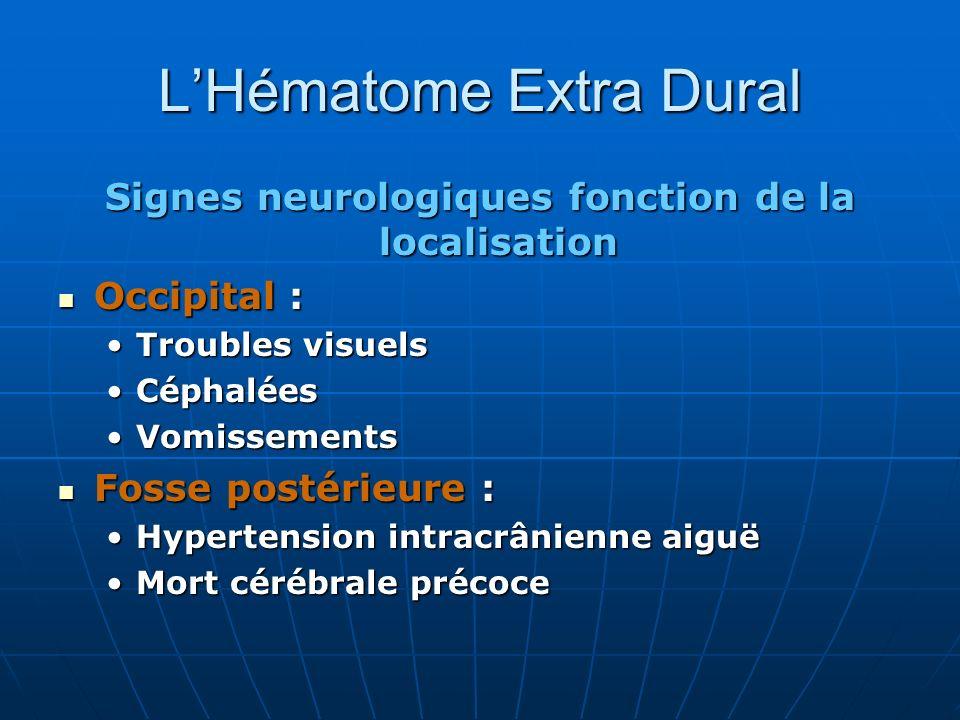 LHématome Extra Dural Signes neurologiques fonction de la localisation Occipital : Occipital : Troubles visuelsTroubles visuels CéphaléesCéphalées Vom