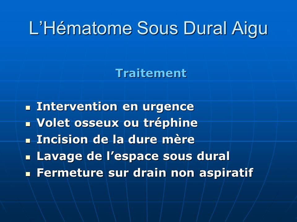 Traitement Intervention en urgence Intervention en urgence Volet osseux ou tréphine Volet osseux ou tréphine Incision de la dure mère Incision de la d