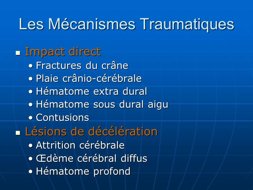 Les Mécanismes Traumatiques Impact direct Impact direct Fractures du crâneFractures du crâne Plaie crânio-cérébralePlaie crânio-cérébrale Hématome extra duralHématome extra dural Hématome sous dural aiguHématome sous dural aigu ContusionsContusions Lésions de décélération Lésions de décélération Attrition cérébraleAttrition cérébrale Œdème cérébral diffusŒdème cérébral diffus Hématome profondHématome profond