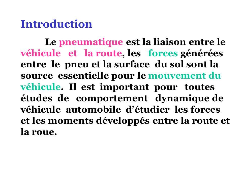 Introduction Le pneumatique est la liaison entre le véhicule et la route, les forces générées entre le pneu et la surface du sol sont la source essent