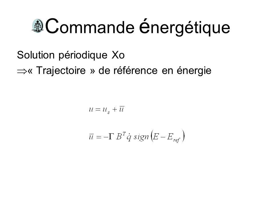 C ommande é nergétique Solution périodique Xo « Trajectoire » de référence en énergie