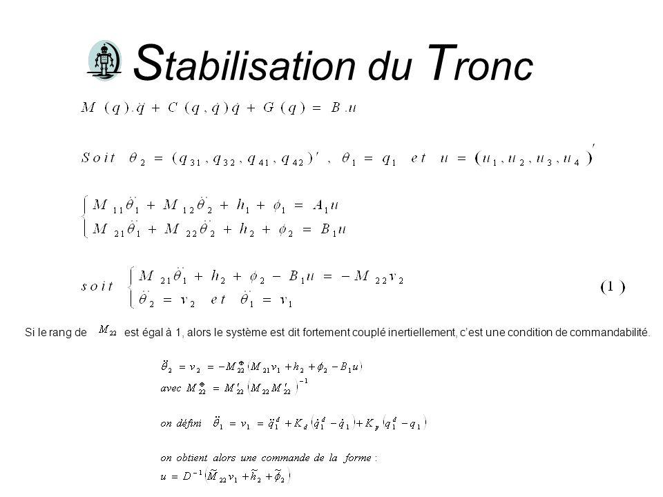 S tabilisation du T ronc Si le rang deest égal à 1, alors le système est dit fortement couplé inertiellement, cest une condition de commandabilité.