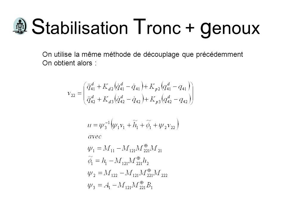 T rajectoires de s tabilisation Posture 1, Absolu Angle tronc= constante Angle genou 1 = Angle hanche 1 – ε Angle genou 2 = Angle hanche 2 – ε Posture 2, Absolu/relatif Angle tronc= constante Angle genou 1 = Angle hanche 1 – ε Trajectoire parabolique du pied de balancement