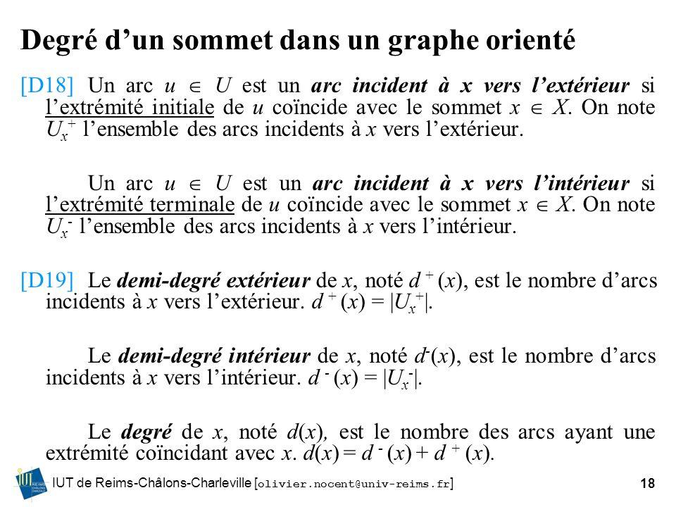 IUT de Reims-Châlons-Charleville [ olivier.nocent@univ-reims.fr ]18 Degré dun sommet dans un graphe orienté [D18]Un arc u U est un arc incident à x ve
