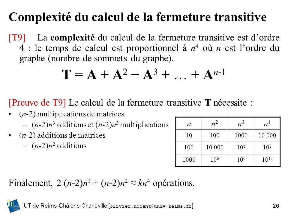 IUT de Reims-Châlons-Charleville [ olivier.nocent@univ-reims.fr ]26 Complexité du calcul de la fermeture transitive [T9]La complexité du calcul de la