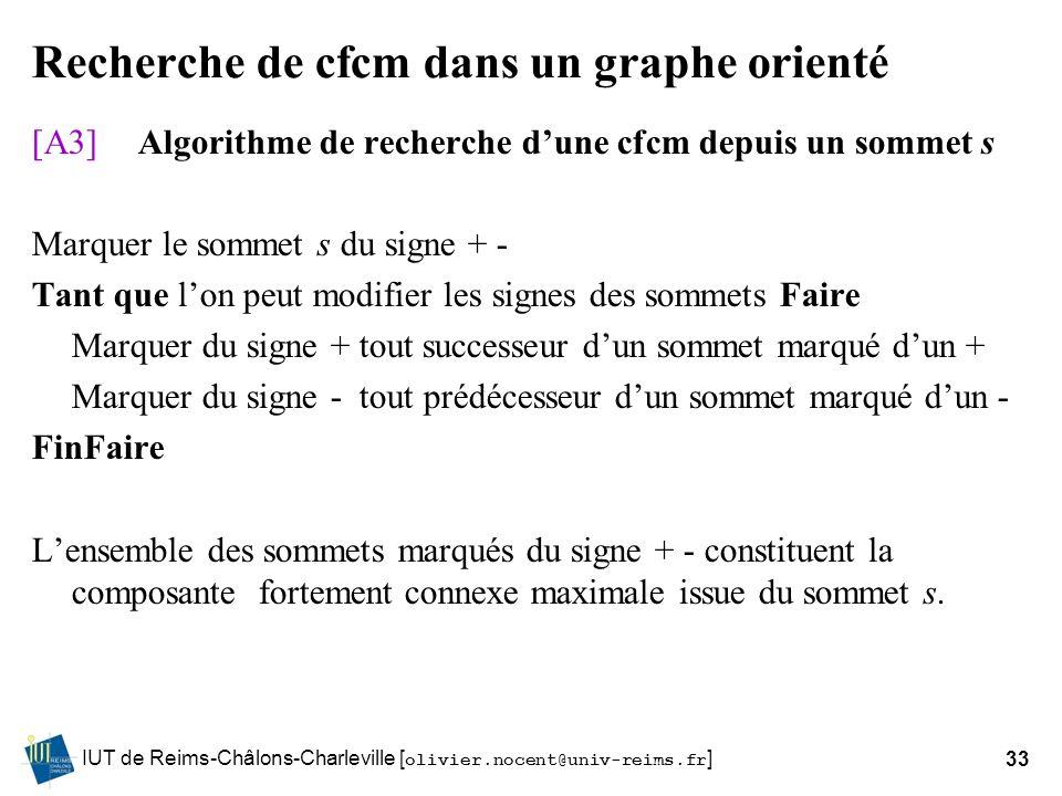 IUT de Reims-Châlons-Charleville [ olivier.nocent@univ-reims.fr ]33 Recherche de cfcm dans un graphe orienté [A3]Algorithme de recherche dune cfcm dep