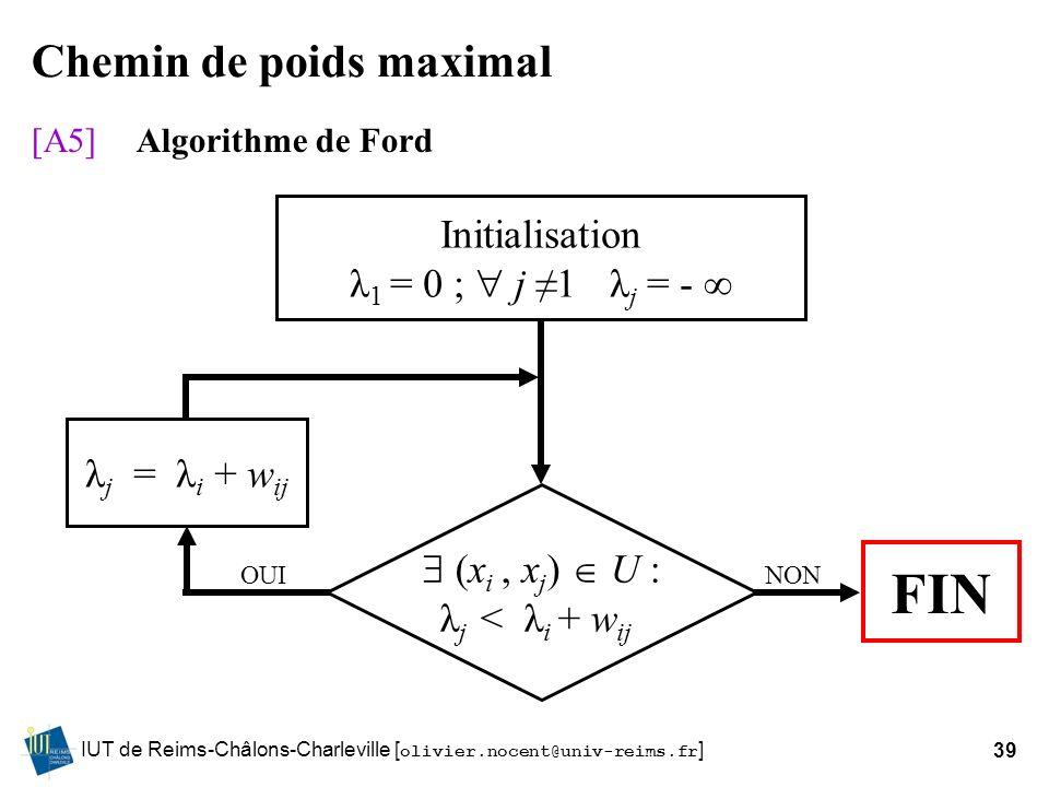 IUT de Reims-Châlons-Charleville [ olivier.nocent@univ-reims.fr ]39 Chemin de poids maximal [A5]Algorithme de Ford Initialisation λ 1 = 0 ; j 1 λ j =
