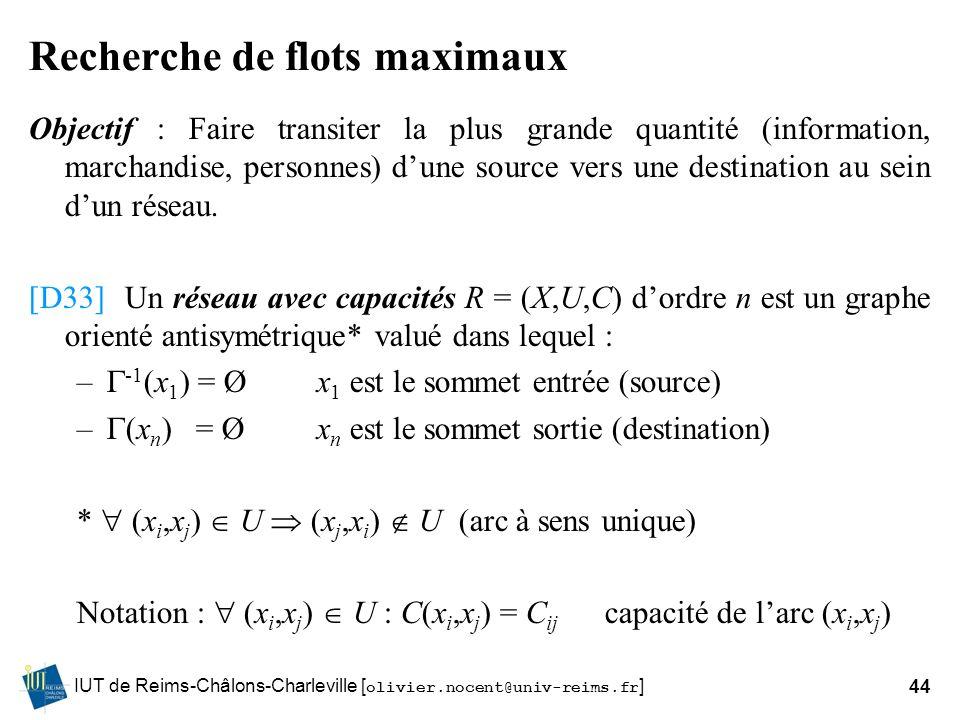 IUT de Reims-Châlons-Charleville [ olivier.nocent@univ-reims.fr ]44 Recherche de flots maximaux Objectif : Faire transiter la plus grande quantité (in