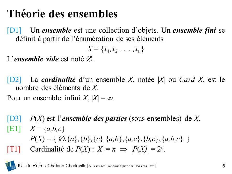 IUT de Reims-Châlons-Charleville [ olivier.nocent@univ-reims.fr ]5 Théorie des ensembles [D1]Un ensemble est une collection dobjets. Un ensemble fini