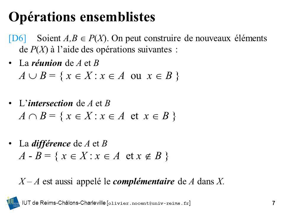 IUT de Reims-Châlons-Charleville [ olivier.nocent@univ-reims.fr ]7 Opérations ensemblistes [D6]Soient A,B P(X). On peut construire de nouveaux élément