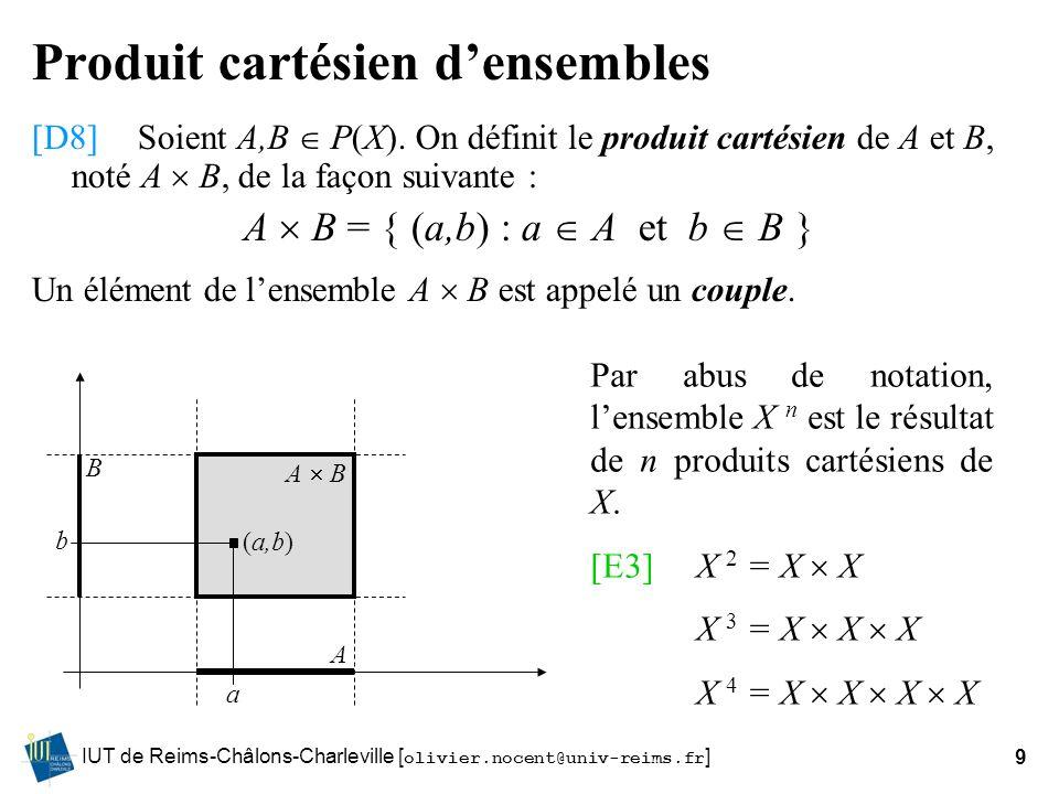 IUT de Reims-Châlons-Charleville [ olivier.nocent@univ-reims.fr ]9 Produit cartésien densembles [D8]Soient A,B P(X). On définit le produit cartésien d