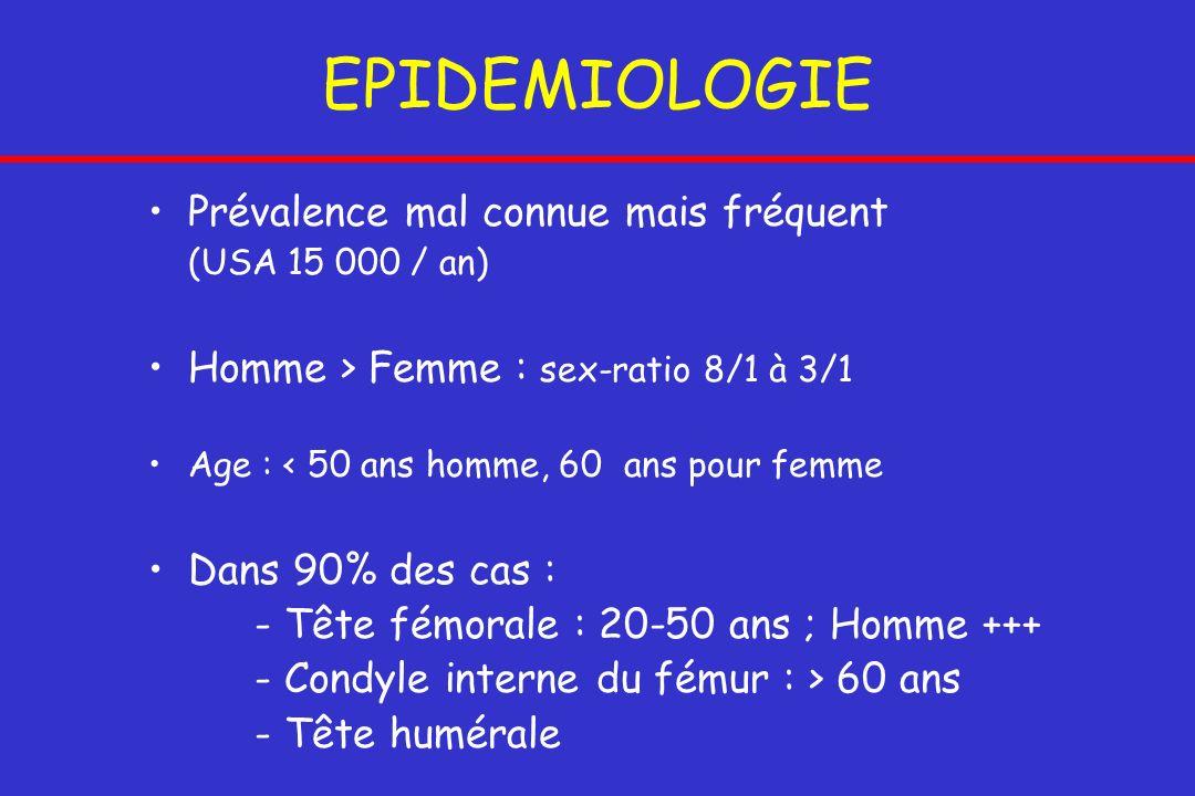 EPIDEMIOLOGIE Prévalence mal connue mais fréquent (USA 15 000 / an) Homme > Femme : sex-ratio 8/1 à 3/1 Age : < 50 ans homme, 60 ans pour femme Dans 9