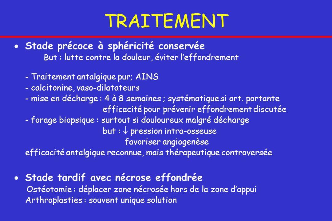 TRAITEMENT Stade précoce à sphéricité conservée But : lutte contre la douleur, éviter leffondrement - Traitement antalgique pur; AINS - calcitonine, v