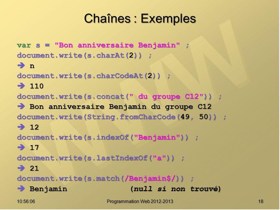 1810:57:52 Programmation Web 2012-2013 Chaînes : Exemples var s =