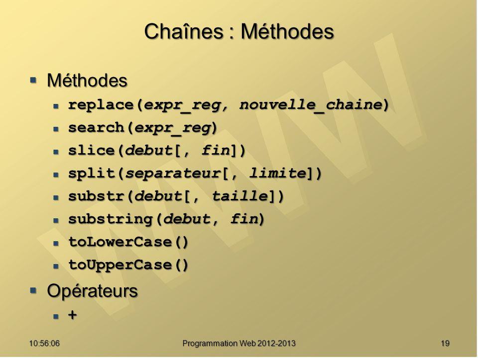 1910:57:52 Programmation Web 2012-2013 Chaînes : Méthodes Méthodes Méthodes replace(expr_reg, nouvelle_chaine) replace(expr_reg, nouvelle_chaine) sear