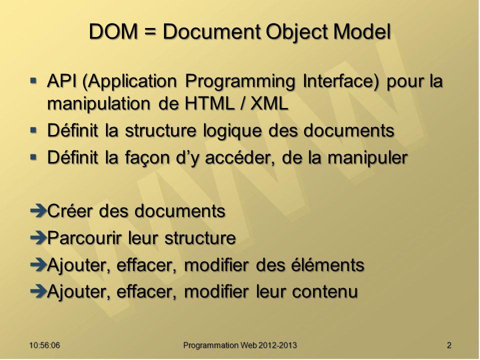 DOM « pur » : exemple Identifier un élément HTML Identifier un élément HTML Accéder à un élément e = document.getElementById( un_id ); Accéder à un élément e = document.getElementById( un_id ); Créer un nœud de type « texte » t1 = document.createTextNode( Voici ); t2 = document.createTextNode( un texte ); Créer un nœud de type « texte » t1 = document.createTextNode( Voici ); t2 = document.createTextNode( un texte ); Créer un nouveau nœud de type « balise » b = document.createElement( b ); Créer un nouveau nœud de type « balise » b = document.createElement( b ); Construire des liens de parenté e.appendChild(t1); b.appendChild(t2); e.appendChild(b); Construire des liens de parenté e.appendChild(t1); b.appendChild(t2); e.appendChild(b); 5310:57:53 Programmation Web 2012-2013 divid= un_id b Voici un texte