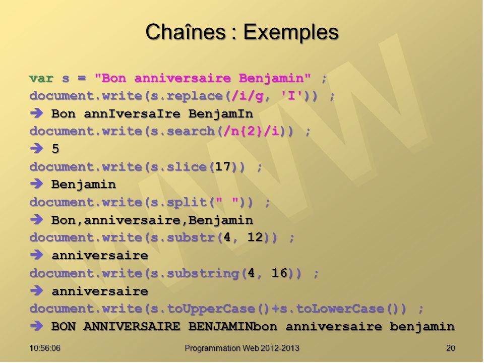 2010:57:52 Programmation Web 2012-2013 Chaînes : Exemples var s =