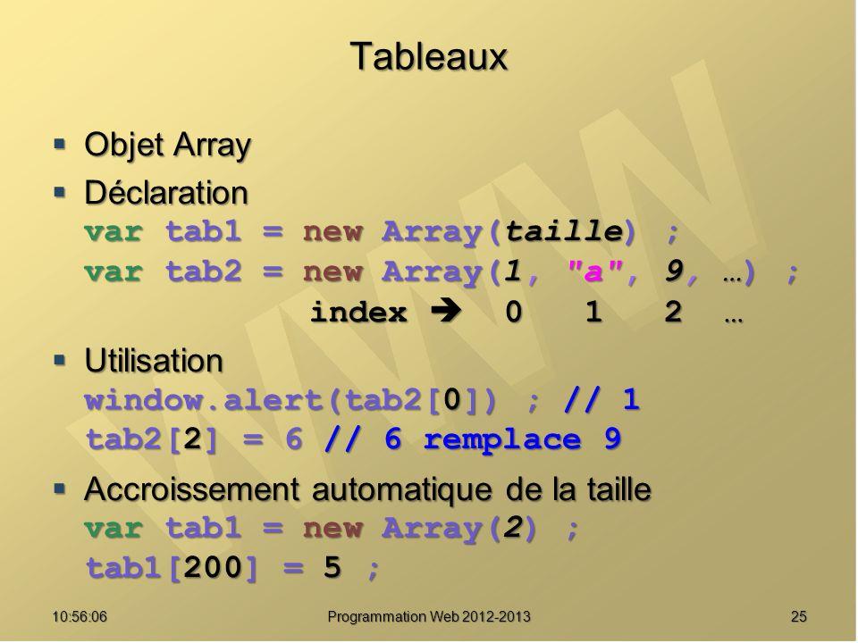 2510:57:52 Programmation Web 2012-2013 Tableaux Objet Array Objet Array Déclaration Déclaration var tab1 = new Array(taille) ; var tab2 = new Array(1,