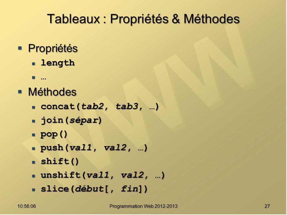 2710:57:52 Programmation Web 2012-2013 Tableaux : Propriétés & Méthodes Propriétés Propriétés length length … Méthodes Méthodes concat(tab2, tab3, …)