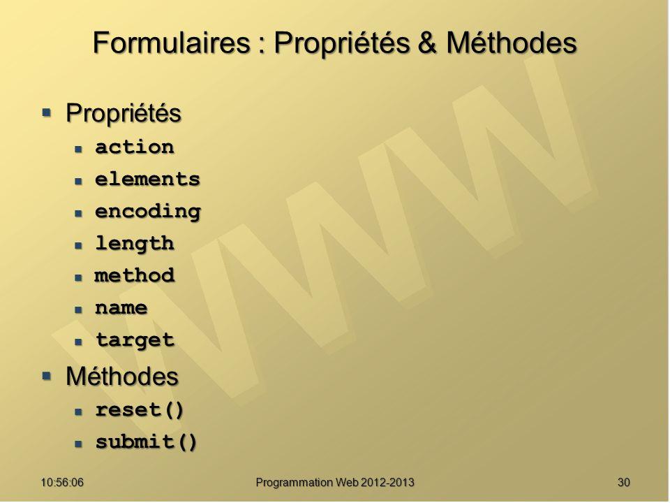 3010:57:52 Programmation Web 2012-2013 Formulaires : Propriétés & Méthodes Propriétés Propriétés action action elements elements encoding encoding len