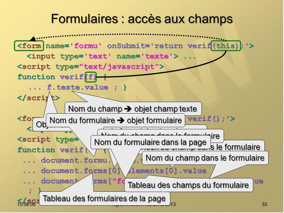 3310:57:52 Programmation Web 2012-2013 Formulaires : accès aux champs...... function verif(f) {... f.texte.value ; }...... function verif(f) {... docu