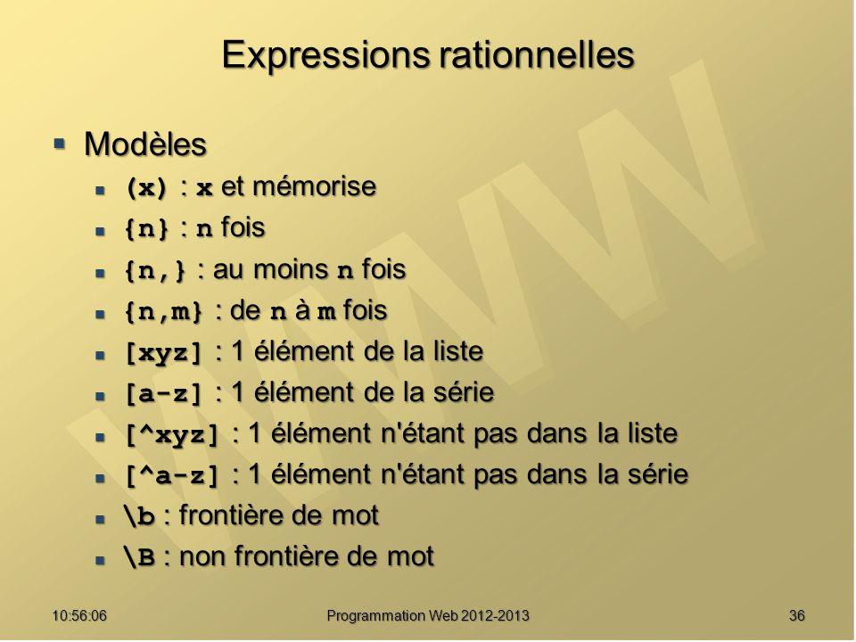 3610:57:52 Programmation Web 2012-2013 Expressions rationnelles Modèles Modèles (x) : x et mémorise (x) : x et mémorise {n} : n fois {n} : n fois {n,}