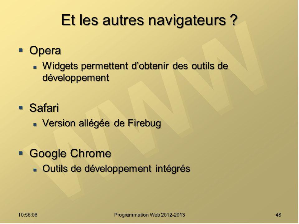 Et les autres navigateurs ? Opera Opera Widgets permettent dobtenir des outils de développement Widgets permettent dobtenir des outils de développemen