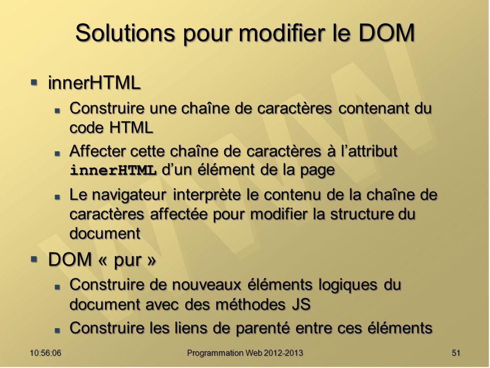Solutions pour modifier le DOM innerHTML innerHTML Construire une chaîne de caractères contenant du code HTML Construire une chaîne de caractères cont