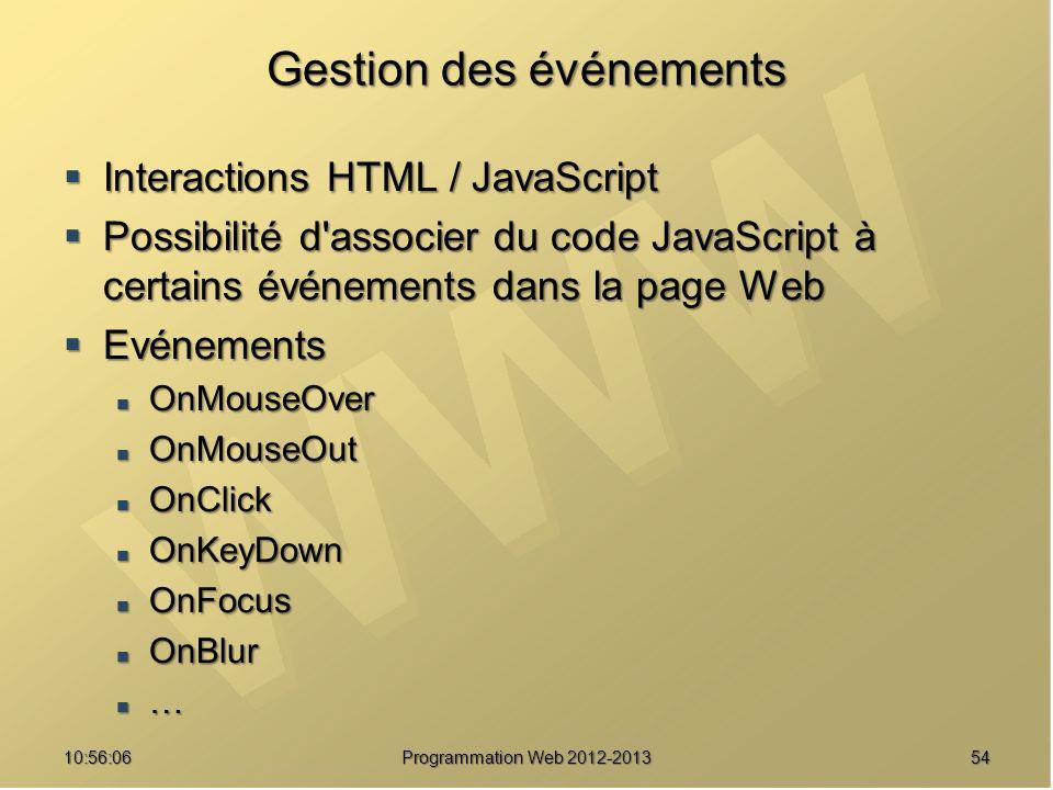 5410:57:53 Programmation Web 2012-2013 Gestion des événements Interactions HTML / JavaScript Interactions HTML / JavaScript Possibilité d'associer du