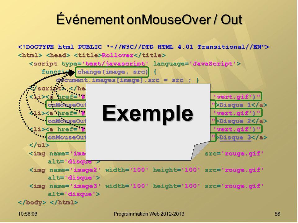 5810:57:53 Programmation Web 2012-2013 Événement onMouseOver / Out Rollover Rollover function change(image, src) { function change(image, src) { docum