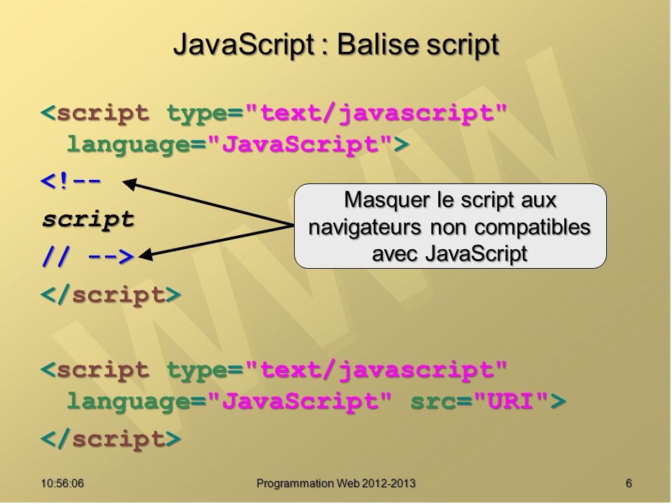 610:57:52 Programmation Web 2012-2013 JavaScript : Balise script <!--script // --> Masquer le script aux navigateurs non compatibles avec JavaScript