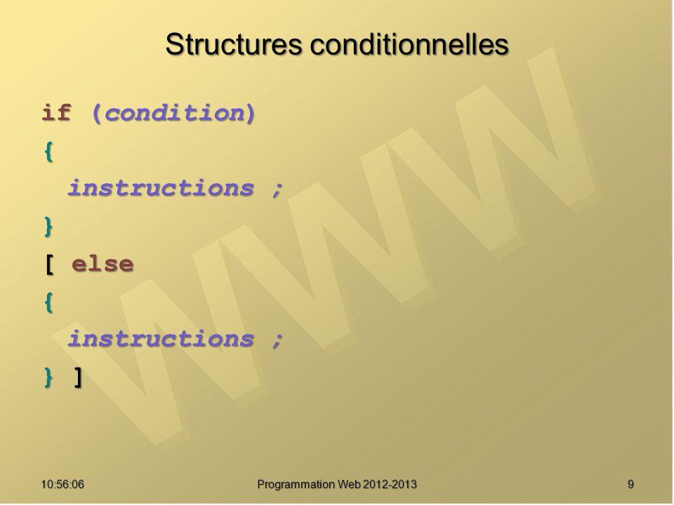1010:57:52 Programmation Web 2012-2013 Structures conditionnelles switch (expression) { case étiquette : case étiquette : instructions ; instructions ; break ; break ; case étiquette : case étiquette : instructions ; instructions ; break ; break ; default : default : instructions ; instructions ;}