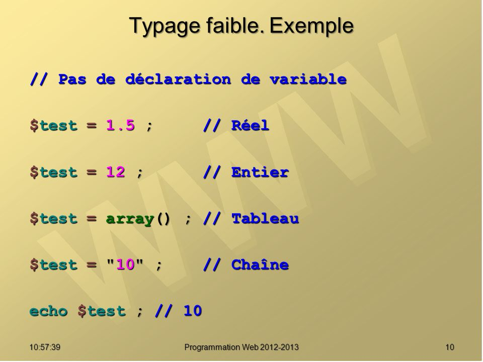 1010:59:29 Programmation Web 2012-2013 Typage faible.