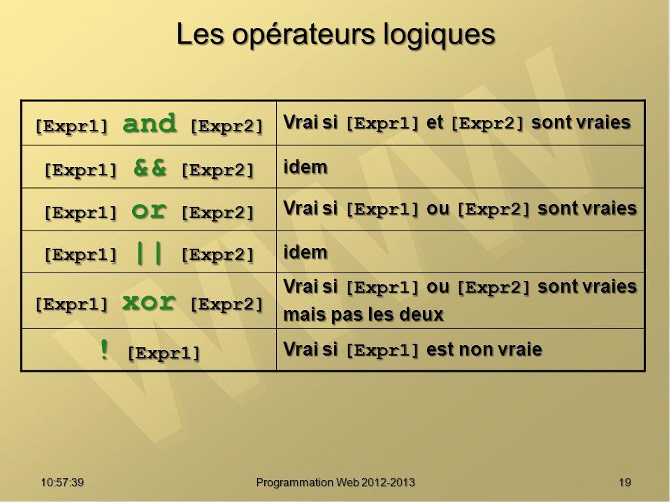 1910:59:29 Programmation Web 2012-2013 Les opérateurs logiques [Expr1] and [Expr2] Vrai si [Expr1] et [Expr2] sont vraies [Expr1] && [Expr2] idem [Exp