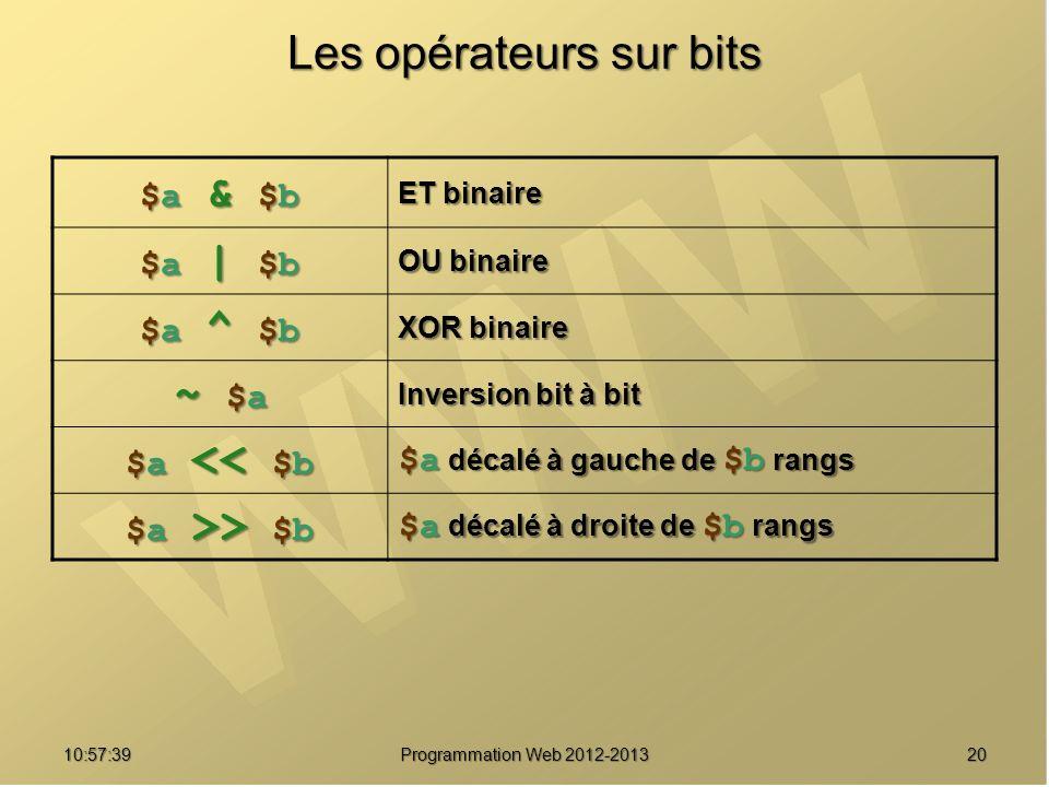 2010:59:29 Programmation Web 2012-2013 Les opérateurs sur bits $a & $b$a & $b$a & $b$a & $b ET binaire $a | $b$a | $b$a | $b$a | $b OU binaire $a ^ $b