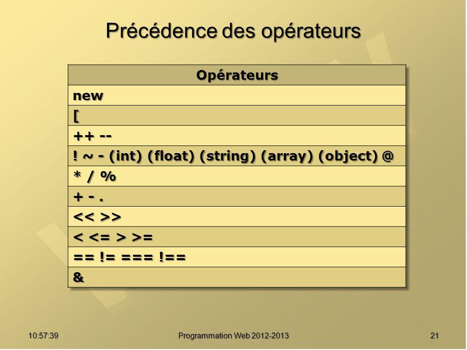 2110:59:29 Programmation Web 2012-2013 Précédence des opérateurs