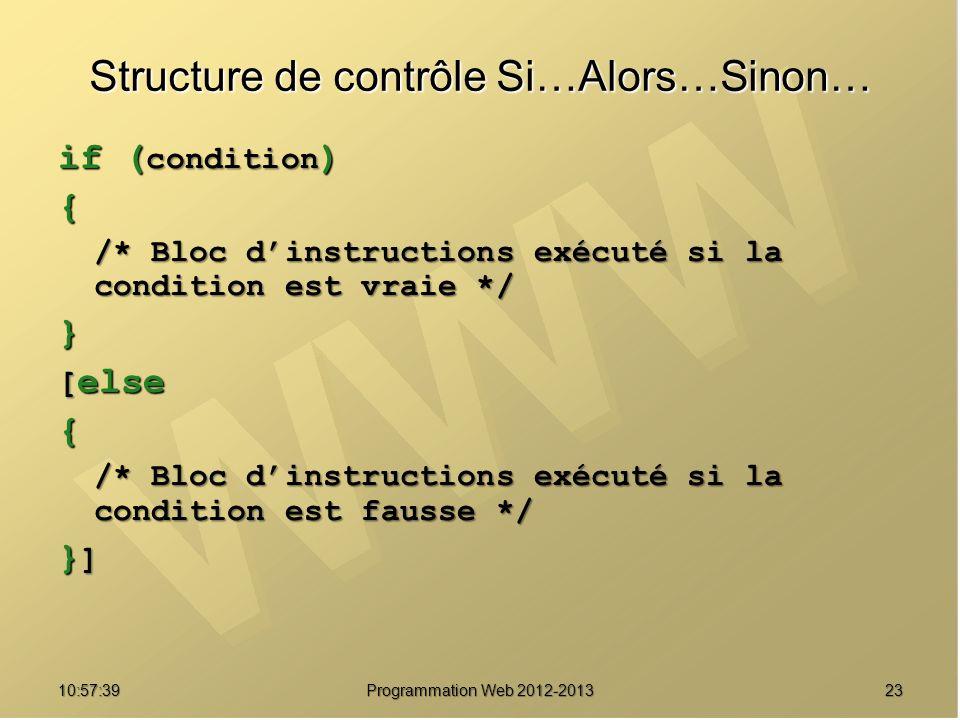 2310:59:29 Programmation Web 2012-2013 Structure de contrôle Si…Alors…Sinon… if ( condition ) { /* Bloc dinstructions exécuté si la condition est vrai