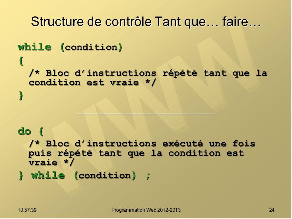 2410:59:29 Programmation Web 2012-2013 Structure de contrôle Tant que… faire… while ( condition ) { /* Bloc dinstructions répété tant que la condition