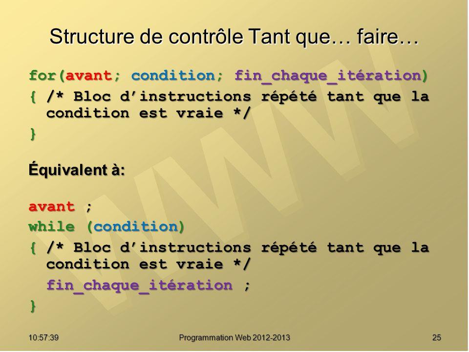 2510:59:29 Programmation Web 2012-2013 Structure de contrôle Tant que… faire… for(avant; condition; fin_chaque_itération) {/* Bloc dinstructions répét
