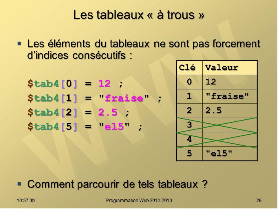 2910:59:29 Programmation Web 2012-2013 Les tableaux « à trous » Les éléments du tableaux ne sont pas forcement dindices consécutifs : Les éléments du