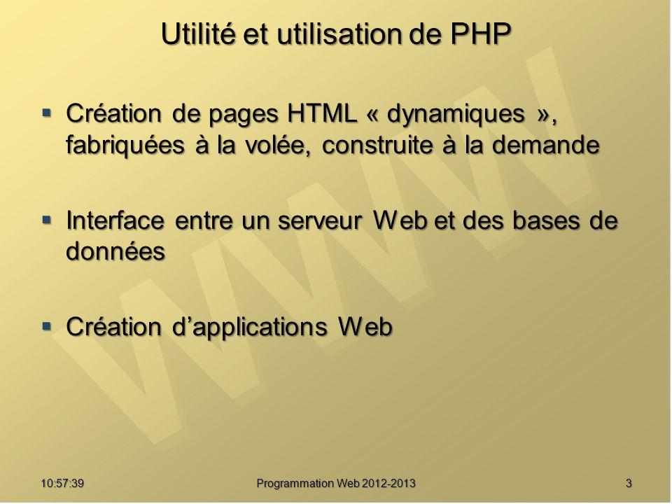 310:59:29 Programmation Web 2012-2013 Utilité et utilisation de PHP Création de pages HTML « dynamiques », fabriquées à la volée, construite à la dema
