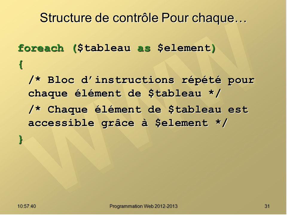 3110:59:29 Programmation Web 2012-2013 Structure de contrôle Pour chaque… foreach ($tableau as $element) { /* Bloc dinstructions répété pour chaque él