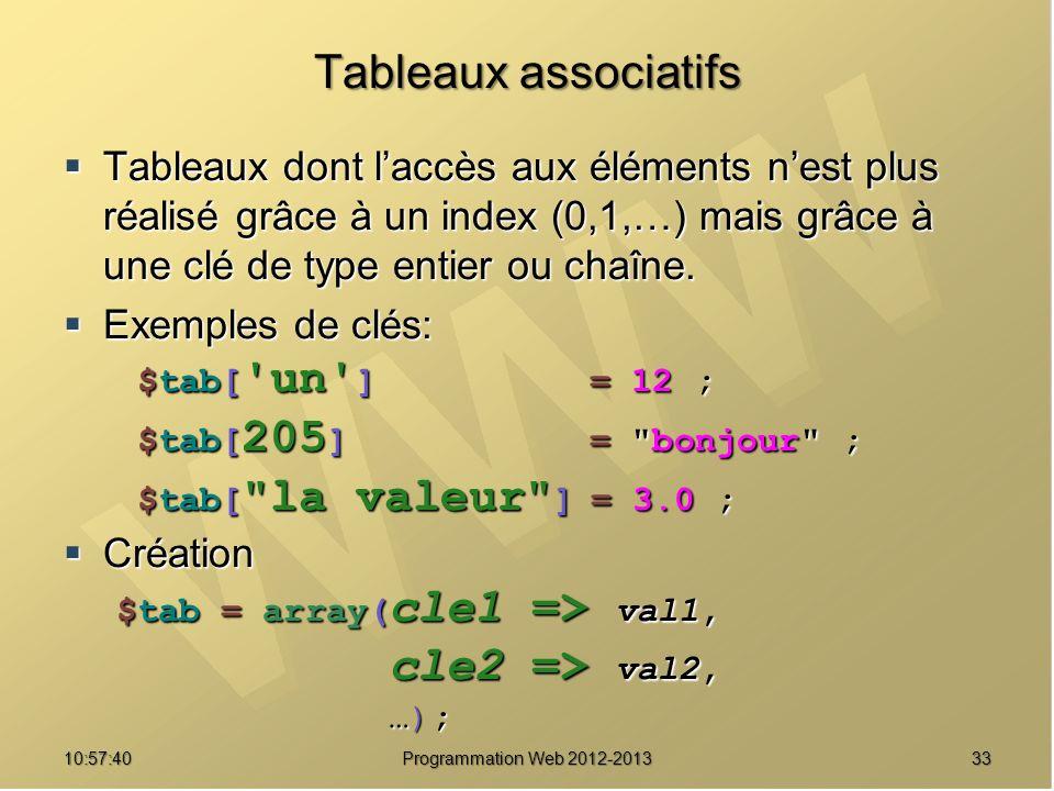 3310:59:29 Programmation Web 2012-2013 Tableaux associatifs Tableaux dont laccès aux éléments nest plus réalisé grâce à un index (0,1,…) mais grâce à