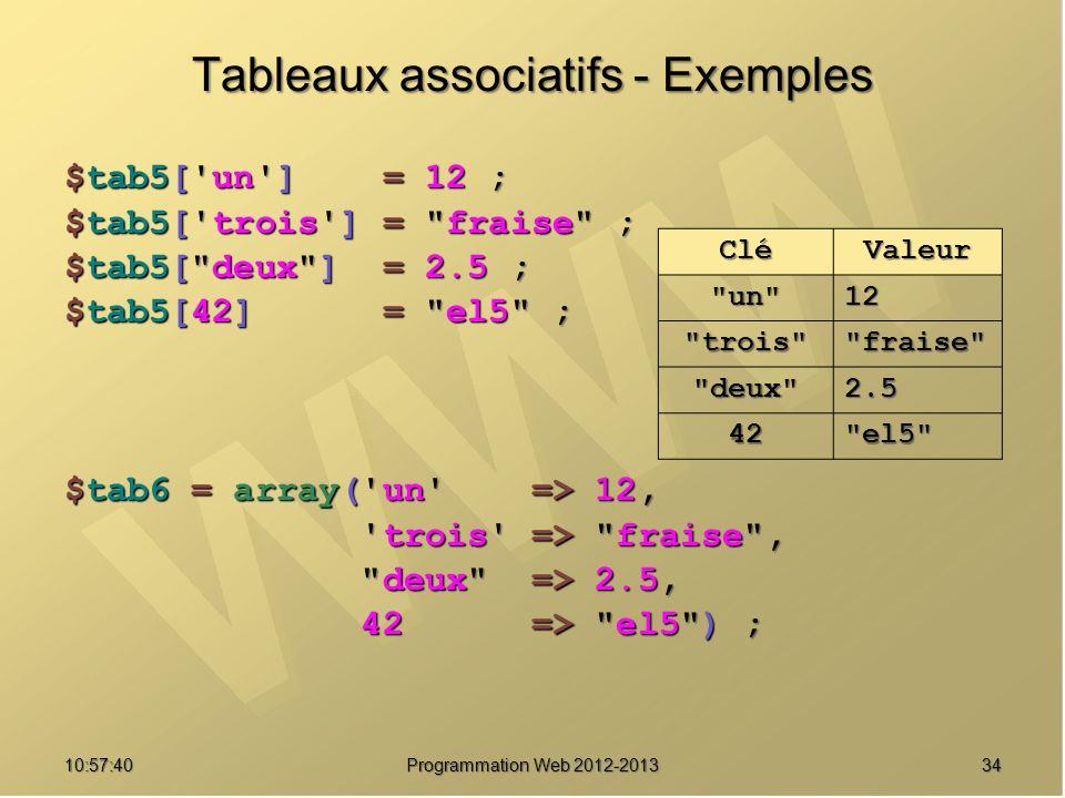 3410:59:29 Programmation Web 2012-2013 Tableaux associatifs - Exemples $tab5['un'] = 12 ; $tab5['trois'] =