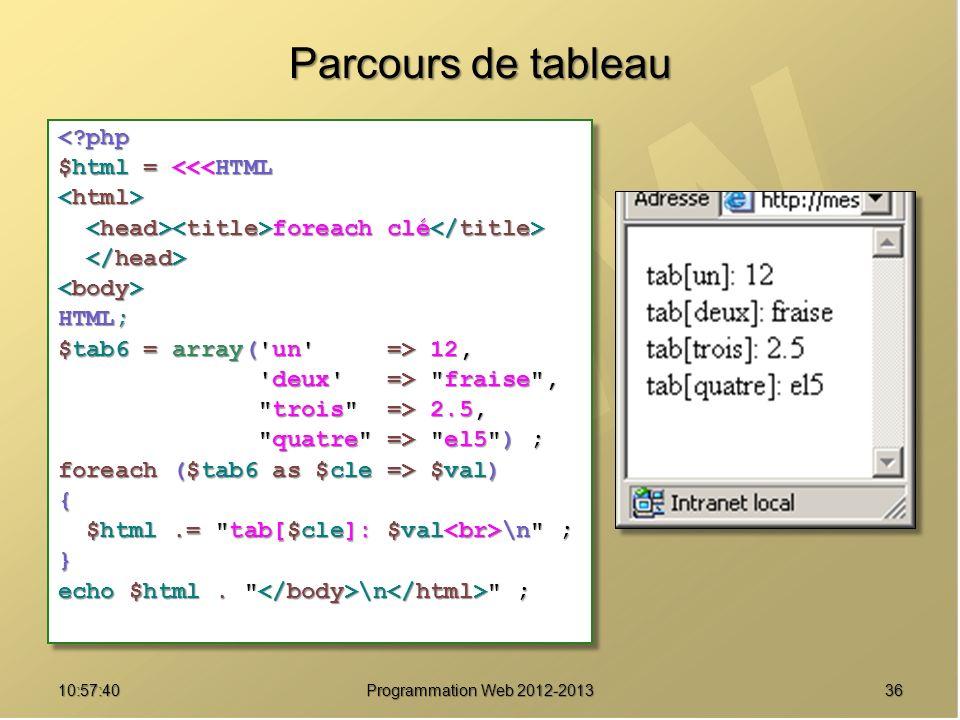 3610:59:29 Programmation Web 2012-2013 Parcours de tableau <?php $html = <<<HTML foreach clé foreach clé HTML; $tab6 = array( un => 12, deux => fraise , deux => fraise , trois => 2.5, trois => 2.5, quatre => el5 ) ; quatre => el5 ) ; foreach ($tab6 as $cle => $val) { $html.= tab[$cle]: $val \n ; $html.= tab[$cle]: $val \n ;} echo $html.