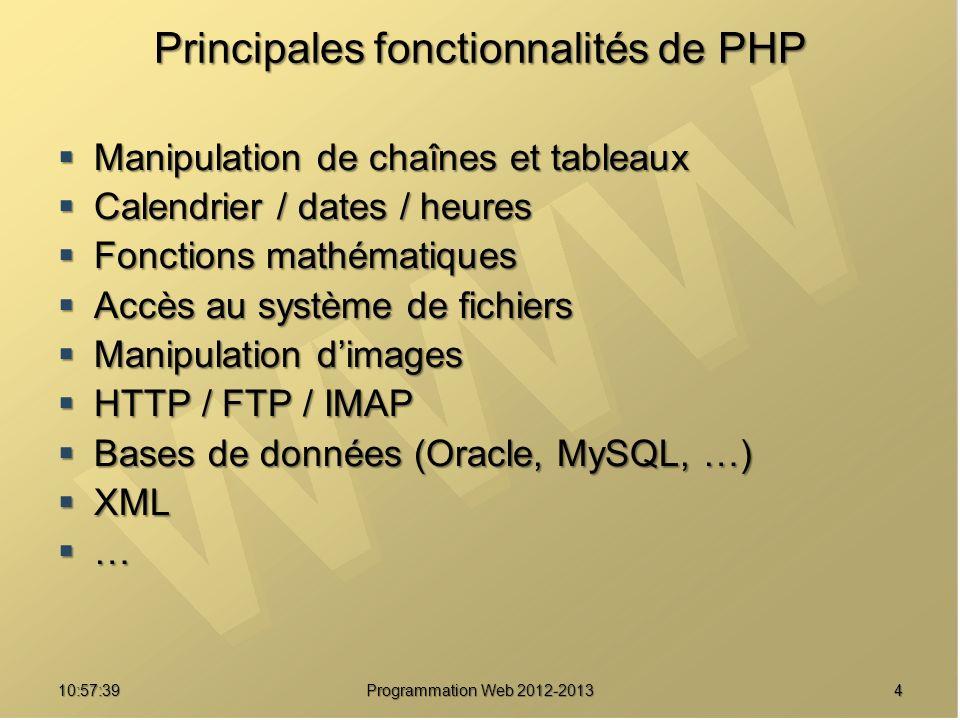 410:59:29 Programmation Web 2012-2013 Principales fonctionnalités de PHP Manipulation de chaînes et tableaux Manipulation de chaînes et tableaux Calen