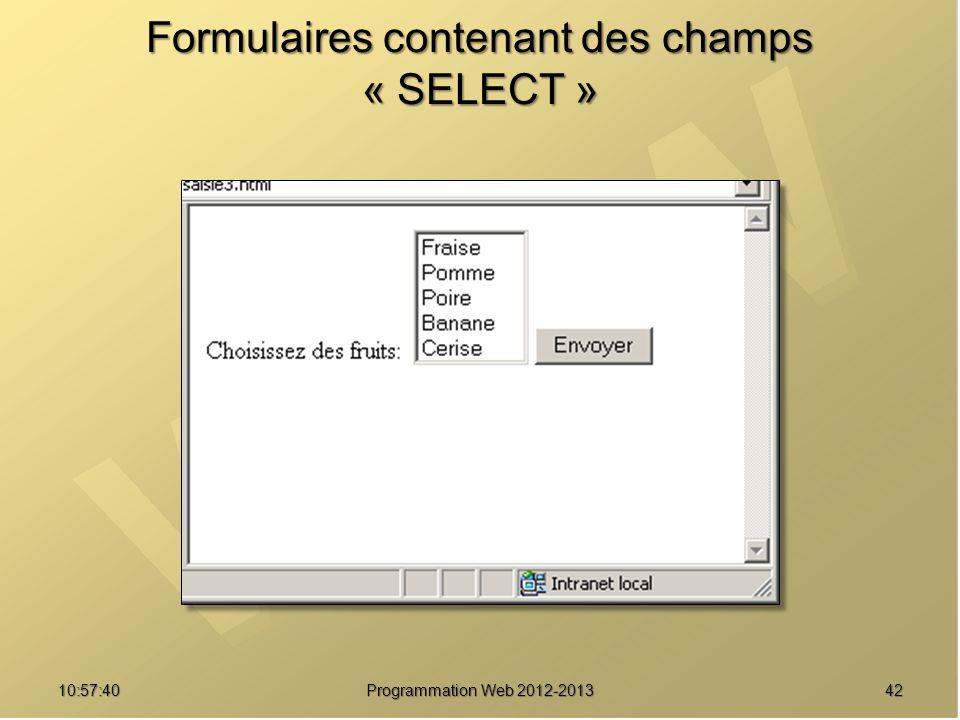 4210:59:29 Programmation Web 2012-2013 Formulaires contenant des champs « SELECT »
